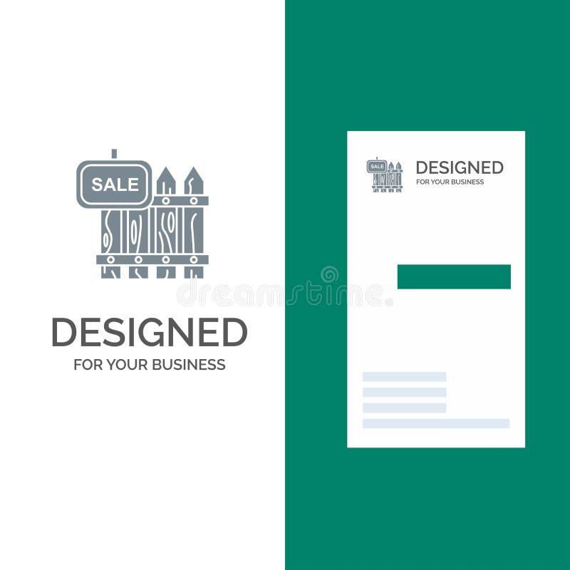 Staket, trä, fast egendom, Sale, trädgård, hus Grey Logo Design och mall för affärskort royaltyfri illustrationer