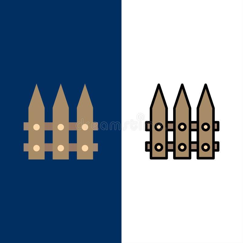 Staket trädgård som arbeta i trädgården, vårsymboler Lägenheten och linjen fylld symbol ställde in blå bakgrund för vektorn royaltyfri illustrationer