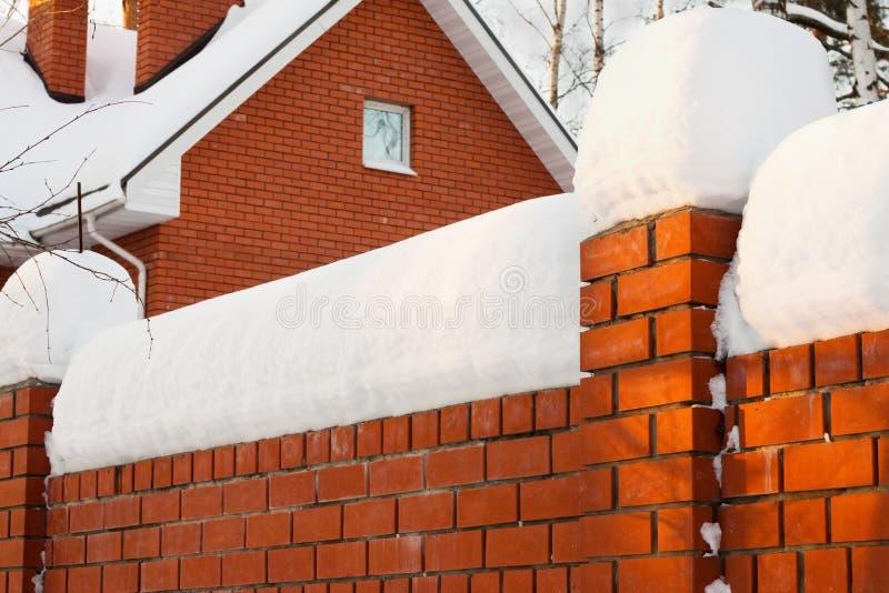 Staket under snow royaltyfri fotografi