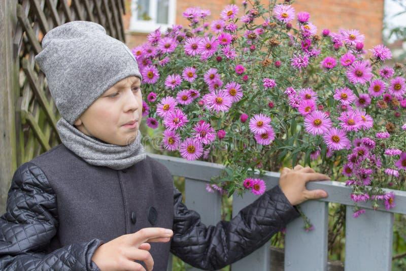 Staketet med blommapojken, pojken ser blommorna till och med staketet royaltyfria foton