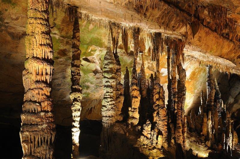 Stalactite-Reihe in den Höhlen lizenzfreie stockbilder