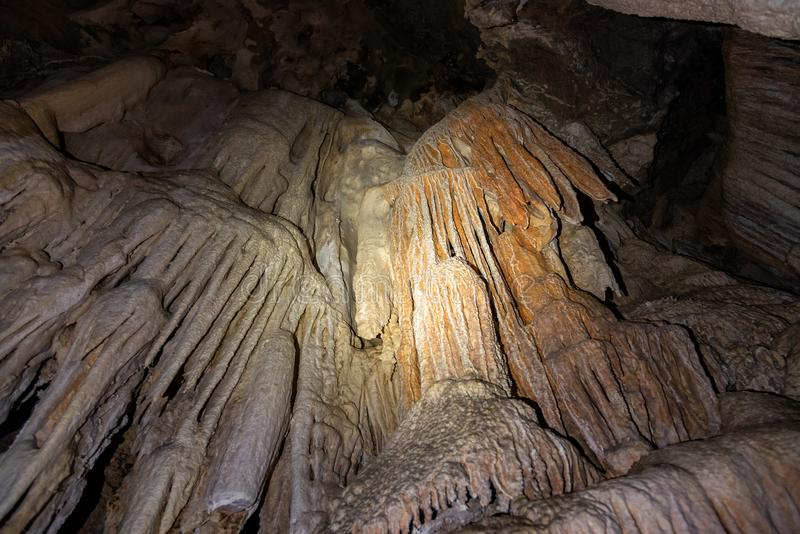 Stalactite and stalagmite inside coral cave at Khao Sok National Park stock photos