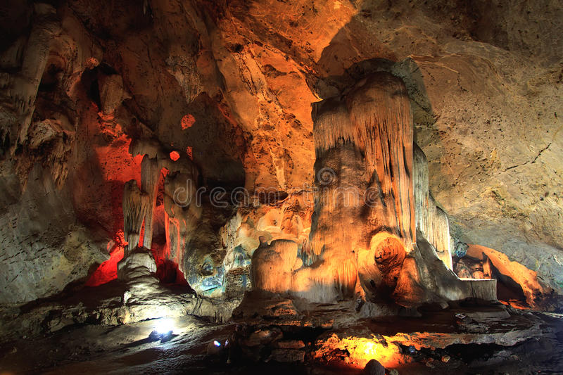 Stalactites in a cave stock photos