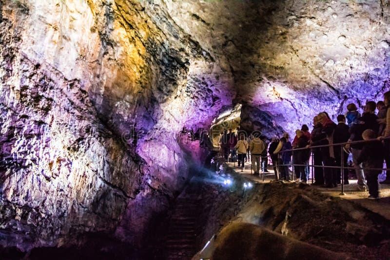 Stalactites multicolores lumineuses en caverne HAN-SUR-LESSE image stock