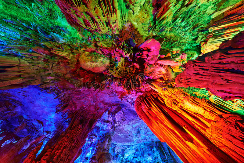 Stalactites of Reed Flute Caves in Guilin, China royalty free stock photos