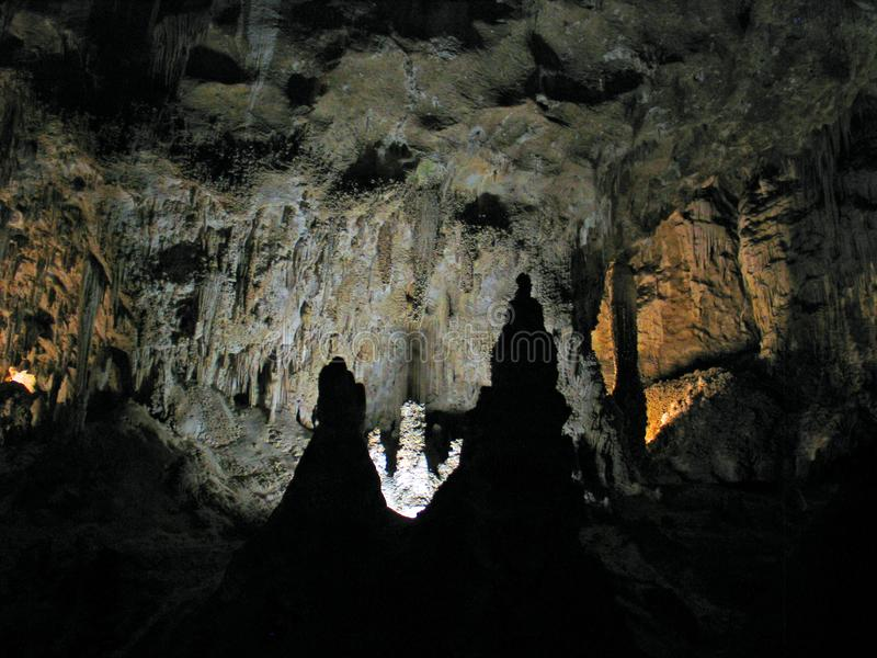 Stalagmites and Stalactites of Carlsbad Caverns royalty free stock images