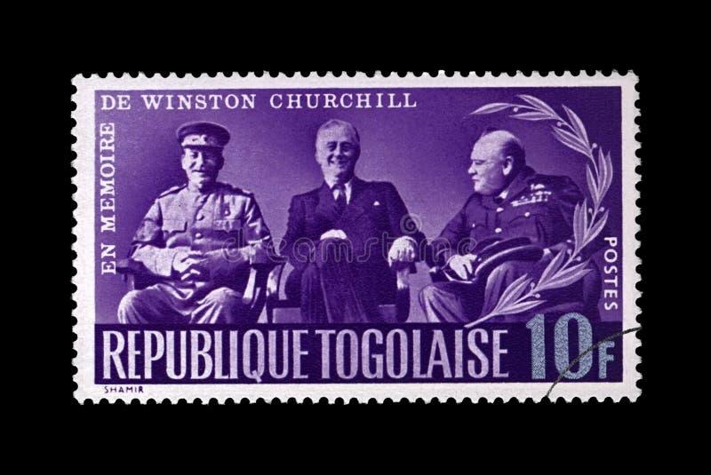 Stalin, Roosevelt and Churchill at Yalta conference during World War II, circa 1965, royalty free stock photos