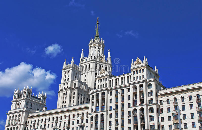 Stalin's Empire style building in Moscow royalty free stock photos