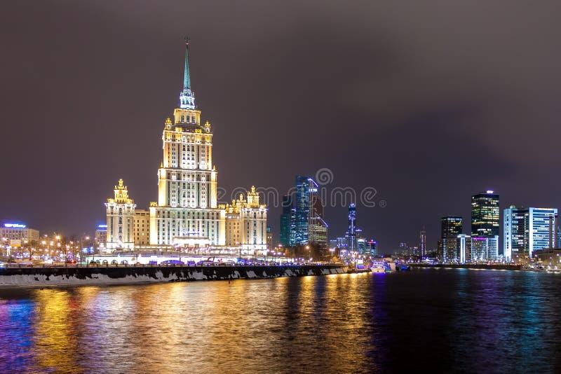 Stalin skyscraper - Hotel Ukraine at the bend of the Moskva River in winter. stock image