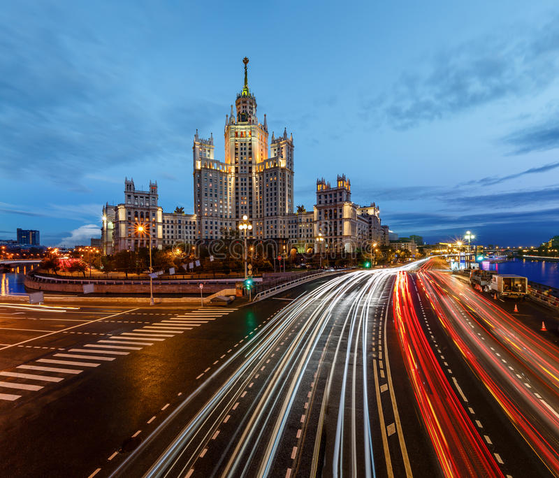 Stalin Skyscraper on Kotelnicheskaya Embankment. Of the Moscow River, Moscow, Russia stock photography
