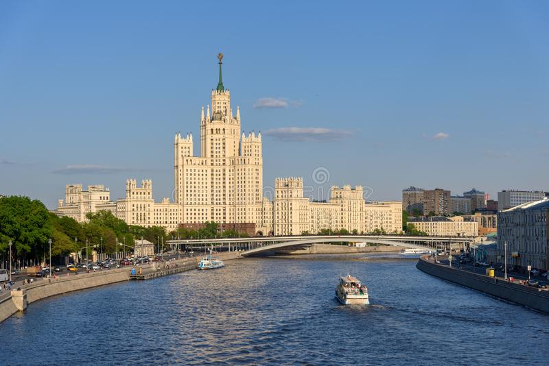 Stalin skyscraper on the Kotelnicheskaya Embankment in Moscow, Russia. Old Skyscreaper in Moscow royalty free stock image