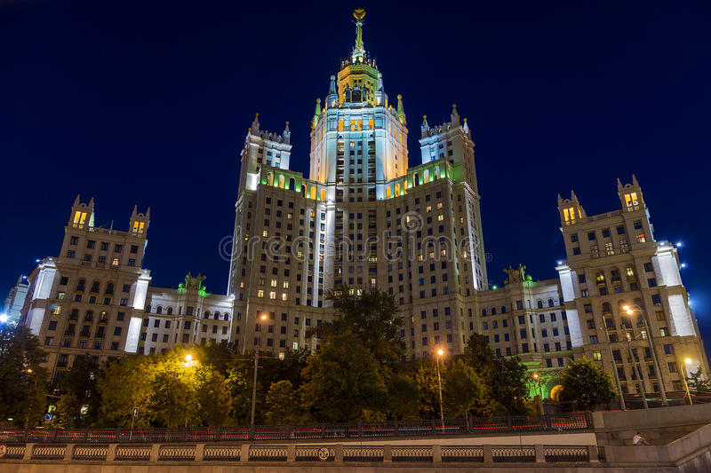 Stalin skyscraper - Residential building on Kotelnicheskaya embankment in Moscow - one of the 'skyscrapers', built at the mouth o. Stalin skyscraper royalty free stock photo