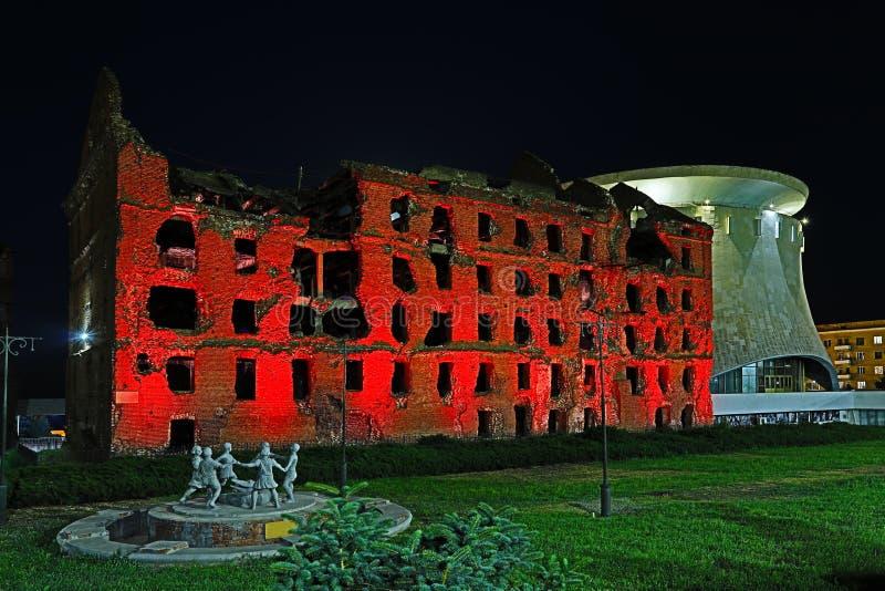 Stalingrad, Rusia - 30 de junio de 2018: opinión sobre el molino de Gerhardt en la noche imagen de archivo