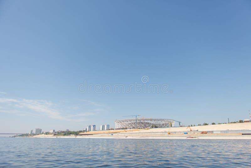 stalingrad Rusia En junio de 2017 Construcción del estadio de fútbol fotos de archivo