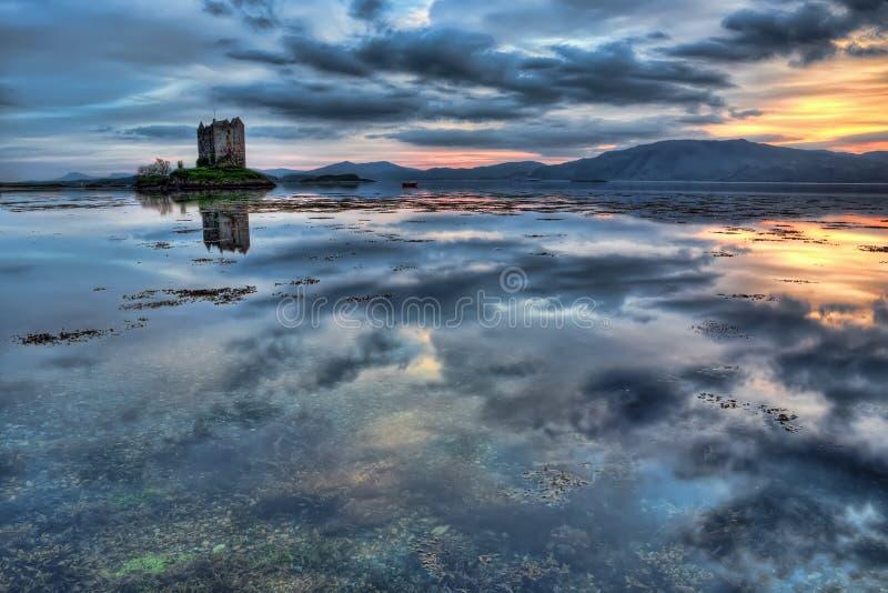 Stalker Castle in blue. Loch Linnhe and the Stalker Castle royalty free stock image