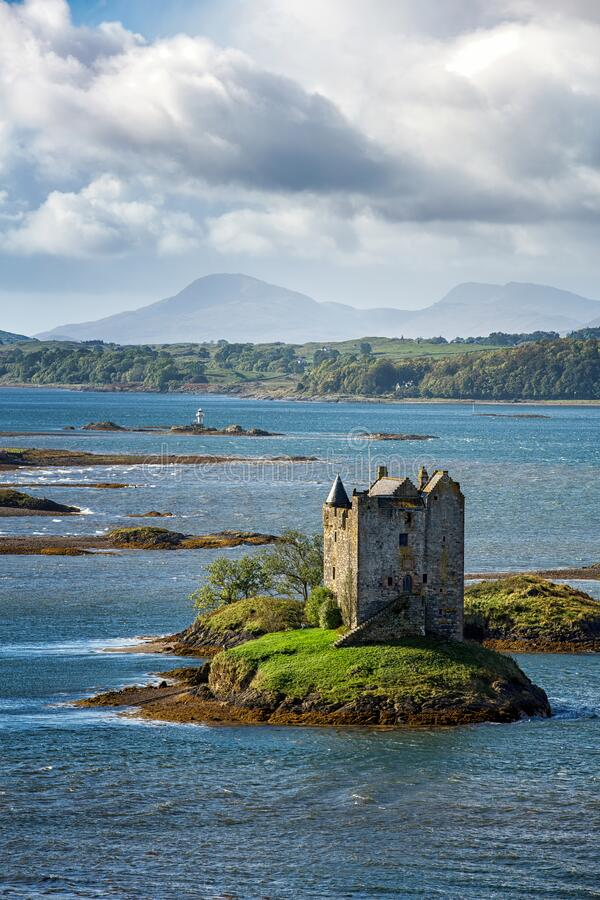 Stalker Castle and the Scottish Highlands royalty free stock photography