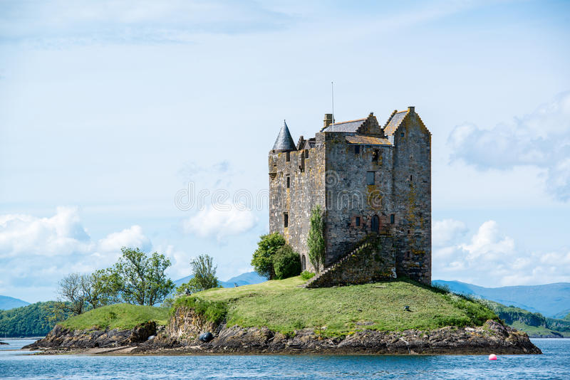 Stalker Castle in Scotland. Medieval Stalker Castle on small island in loch linnhe argyll in the scottish highlands royalty free stock photo