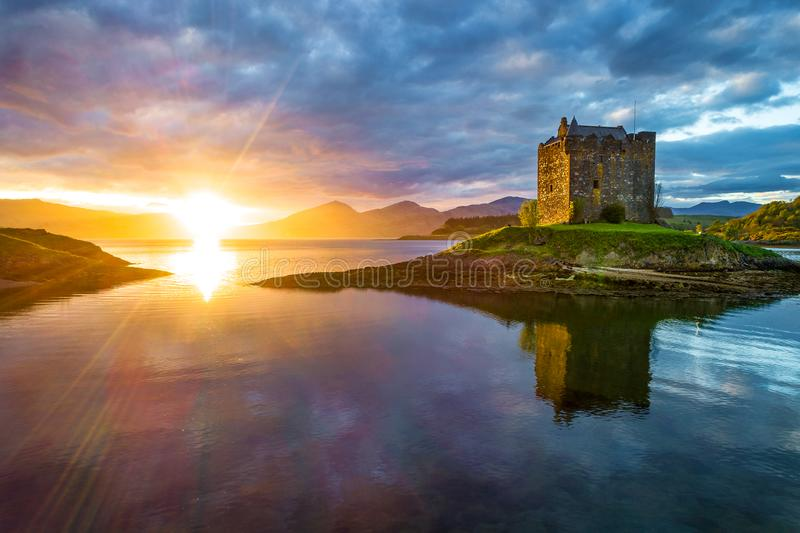 Stalker Castle. At sunset with dramatic clouds royalty free stock image