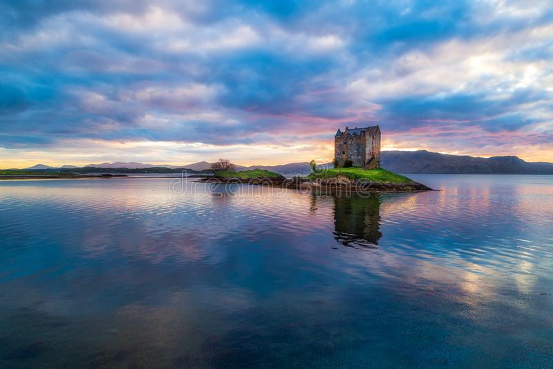 Stalker Castle. At sunset with dramatic clouds stock photos