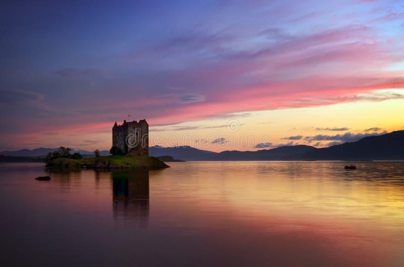 Stalker Castle in sunset. Stalker Castle in colorful evening light, Highlands, Scotland stock photography
