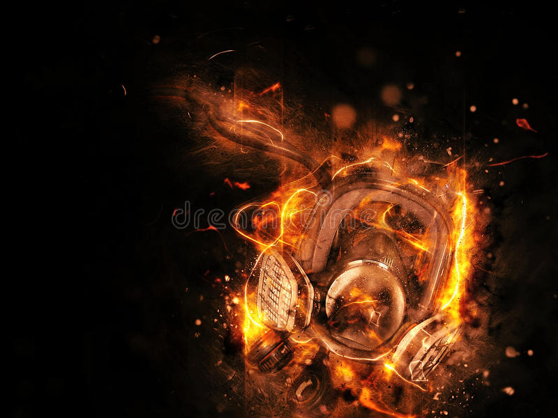 Stalker mask. In fire effect stock photos