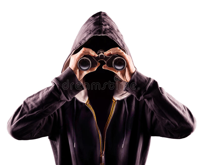 Stalker. Picture of a stalker by using a spy glass stock photos