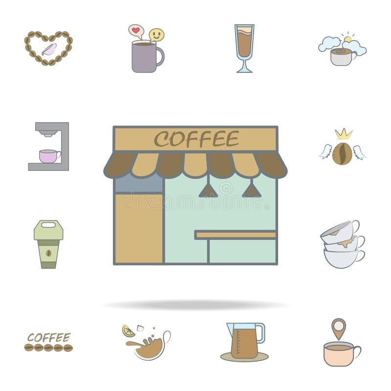 Stall der Kaffeeikone Kaffeeikonen-Universalsatz für Netz und Mobile lizenzfreie abbildung