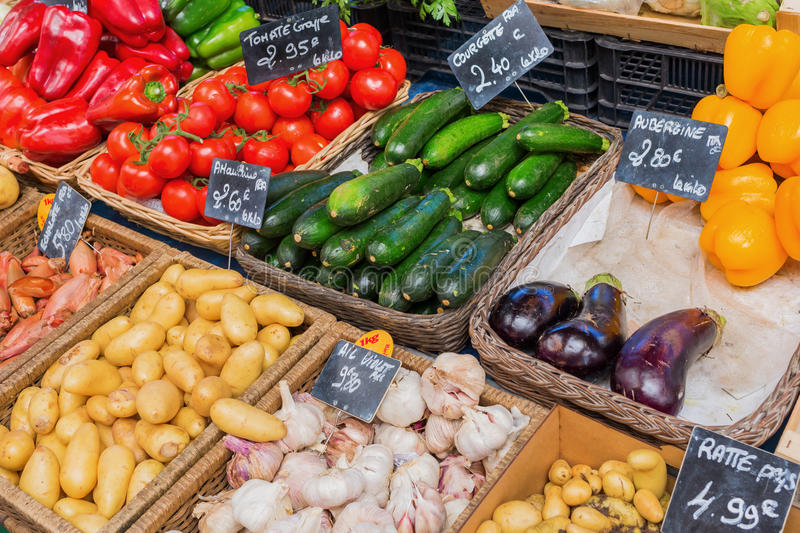 Stall display of a farmers market stock image
