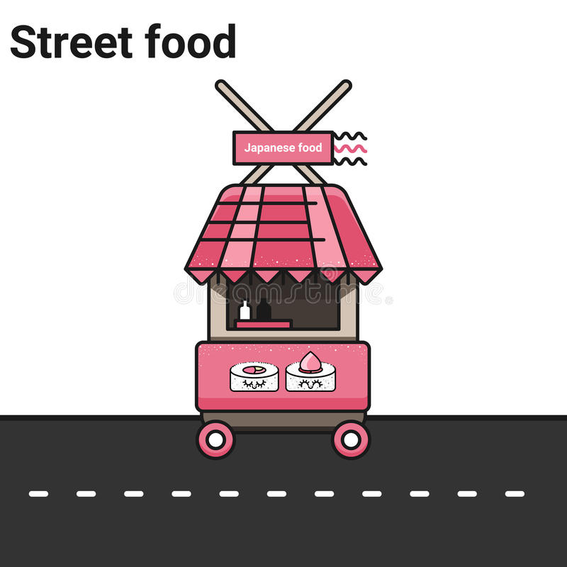 Stall with Japanese food. Rolls, Sushi. The street food. A stall on a white background. Vector eps 10 vector illustration