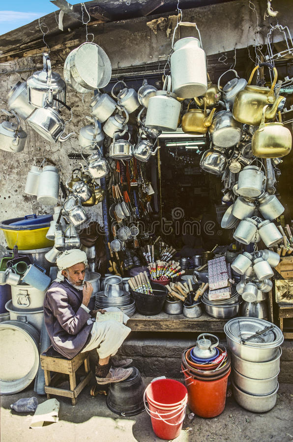 Stall for kitchen equipment in Sanaa stock image