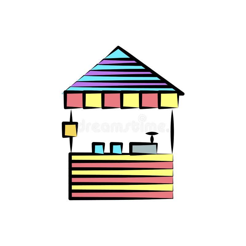 Stall mit Würsten färbte Ikone Element der farbigen Zirkusikone für bewegliche Konzept und Netz apps Farbstall mit Wurstikone c lizenzfreie abbildung