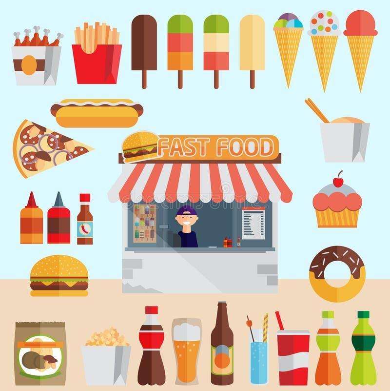 Stall sells fast food. Flat vector stock illustration