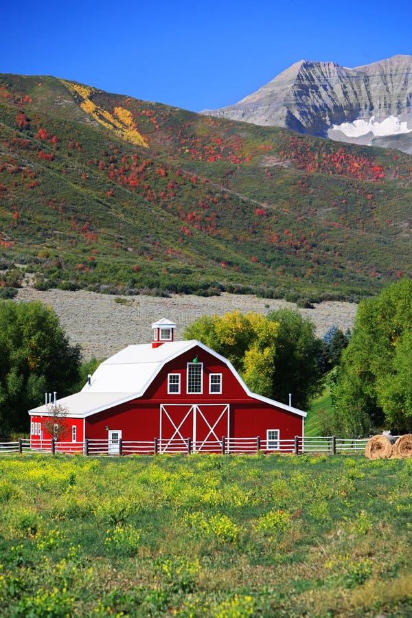 Stall und Felder im frühen Herbst stockfoto