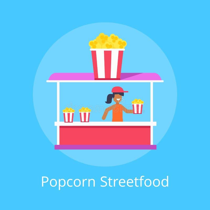 Stalla dell'alimento della via del popcorn, illustrazione di vettore illustrazione vettoriale