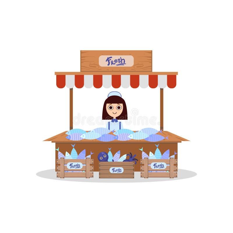 Stalla di legno con i frutti di mare di freschezza, giovane donna che vende l'illustrazione di vettore del pesce fresco illustrazione di stock