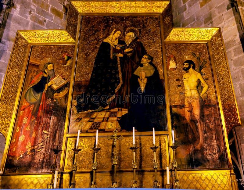 Stalla dipinta Maria San Sebastiano Barcelo cattolico gotico del coro immagini stock libere da diritti