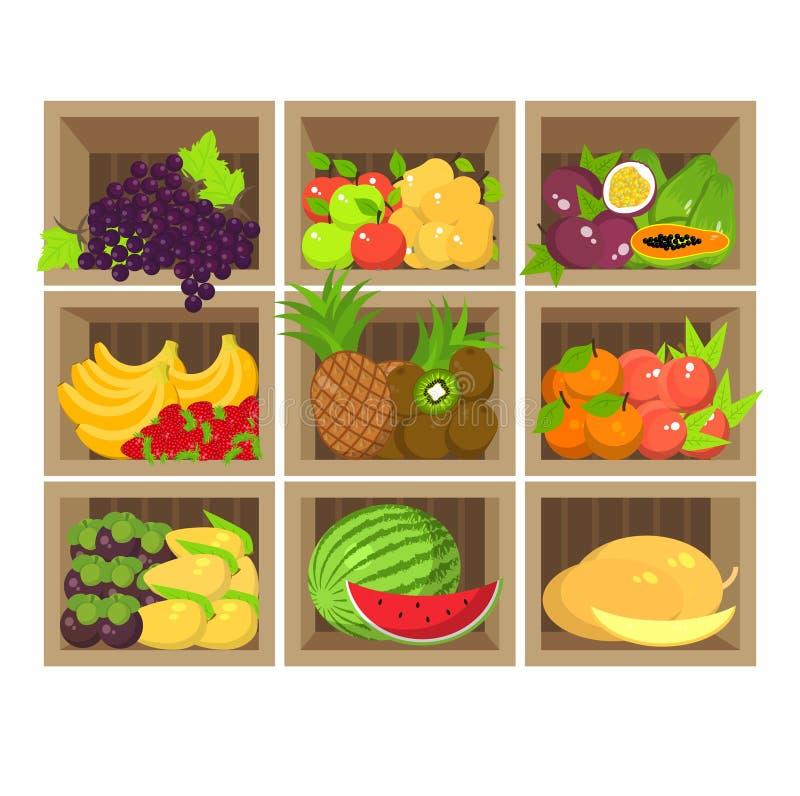 Stalla locale della frutta Negozio di alimento biologico fresco royalty illustrazione gratis