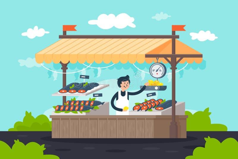Stalla piana del pesce della via con frutti di mare, il limone, il verde e l'uomo del venditore illustrazione di stock