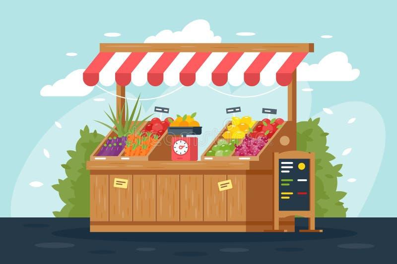 Stalla piana della verdura e della frutta della via con il menu, verde, limone, carota, mela illustrazione vettoriale