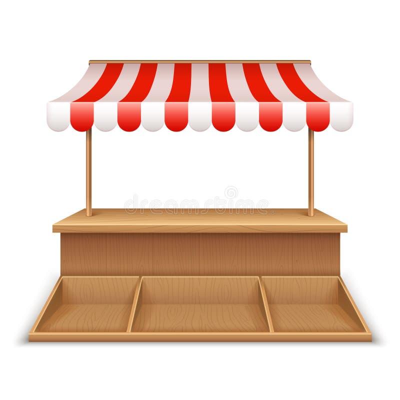 Stalla vuota del mercato Chiosco di legno, supporto della drogheria della via con la tenda a strisce e contro modello dello scrit royalty illustrazione gratis