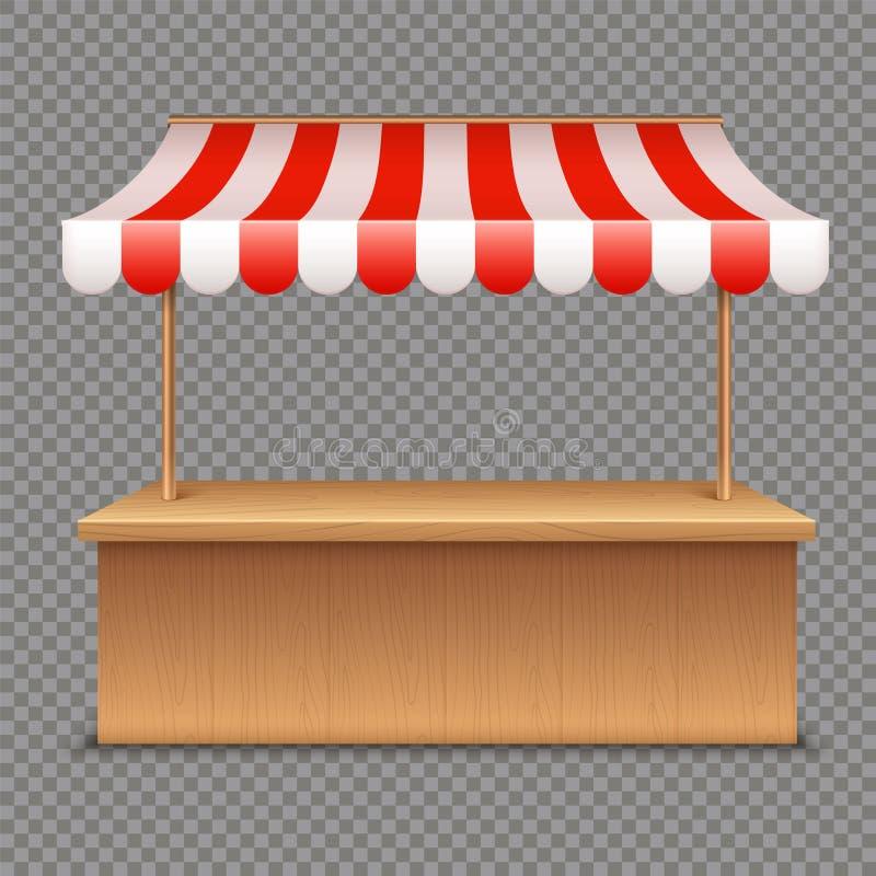 Stalla vuota del mercato Tenda di legno con la tenda a strisce rossa e bianca su fondo trasparente illustrazione vettoriale