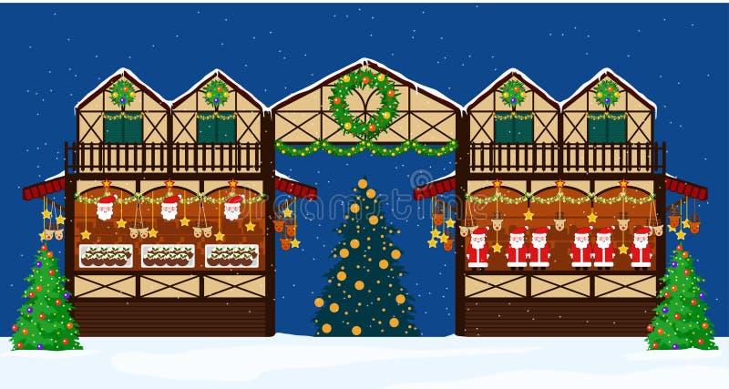 Stalle de commerce loyal de Noël Style plat illustration libre de droits