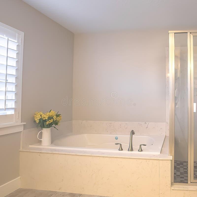 Stalle de douche carrée et construit dans la baignoire à l'intérieur d'une salle de bains avec le mur gris-clair photo stock