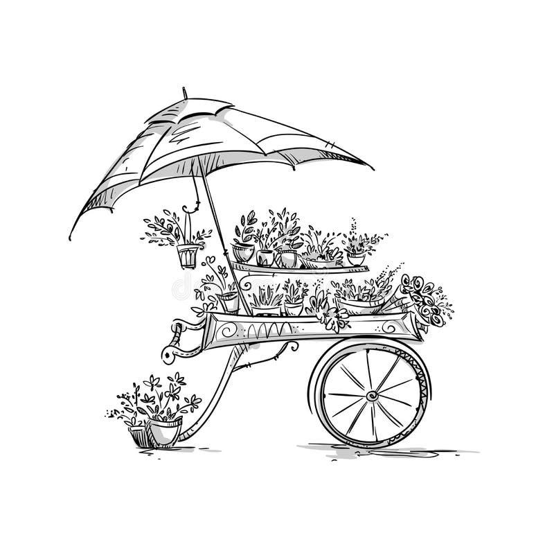 Stalle de fleur, chariot de fleuriste illustration de vecteur