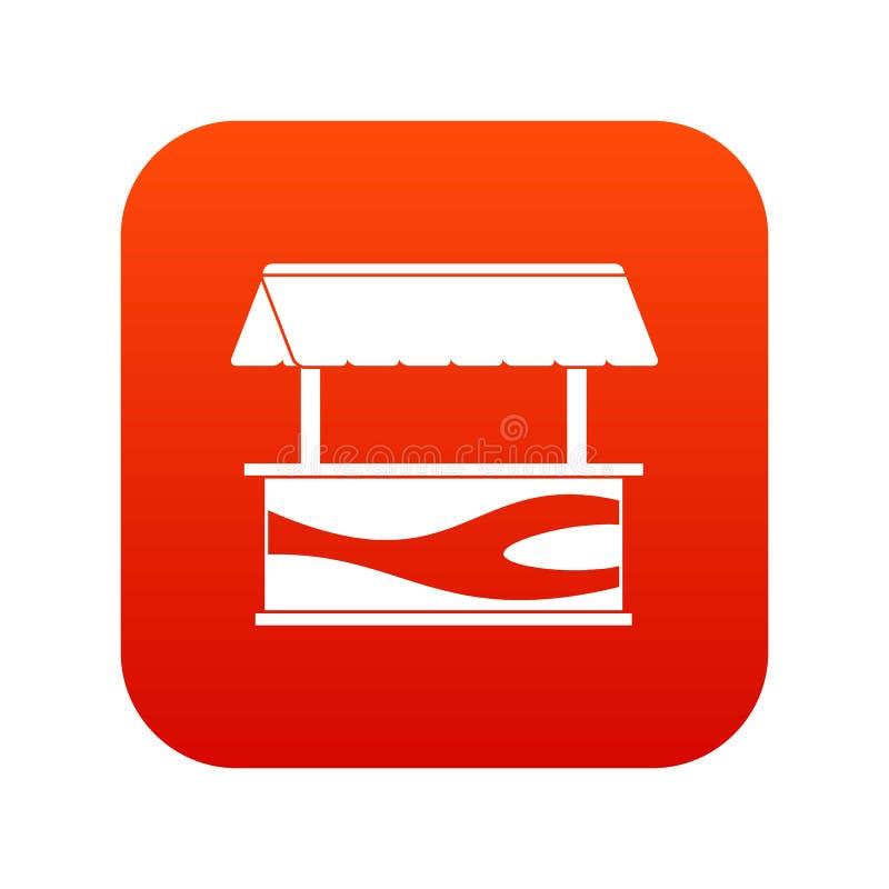 Stalle du marché avec le rouge numérique d'icône de tente illustration libre de droits