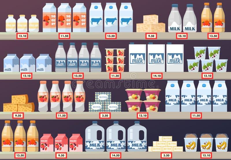 Stallen eller ställningen med mjölkar produkter i galleria stock illustrationer