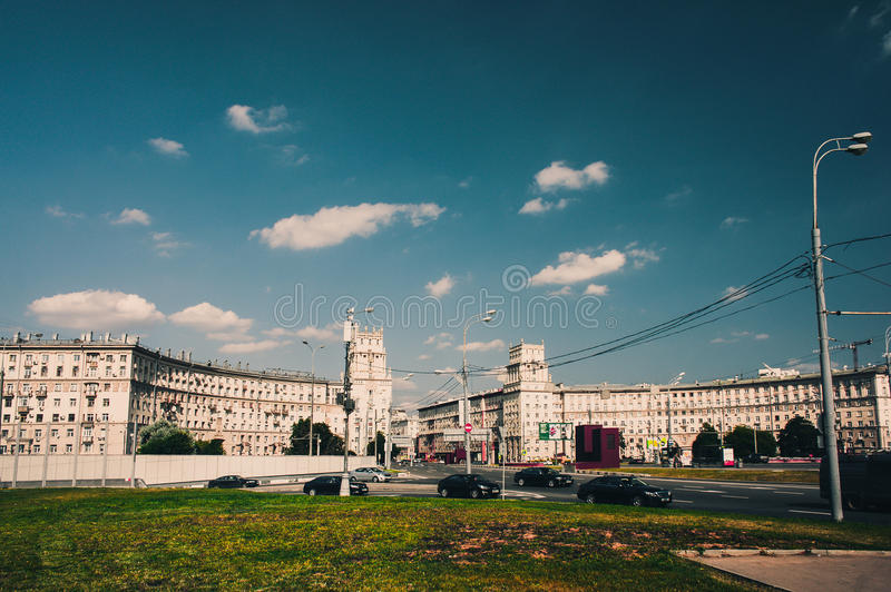 Stallinist style neoclassical building on Leninsky Avenue royalty free stock images