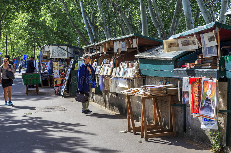 Stalls booksellers in Paris stock photos