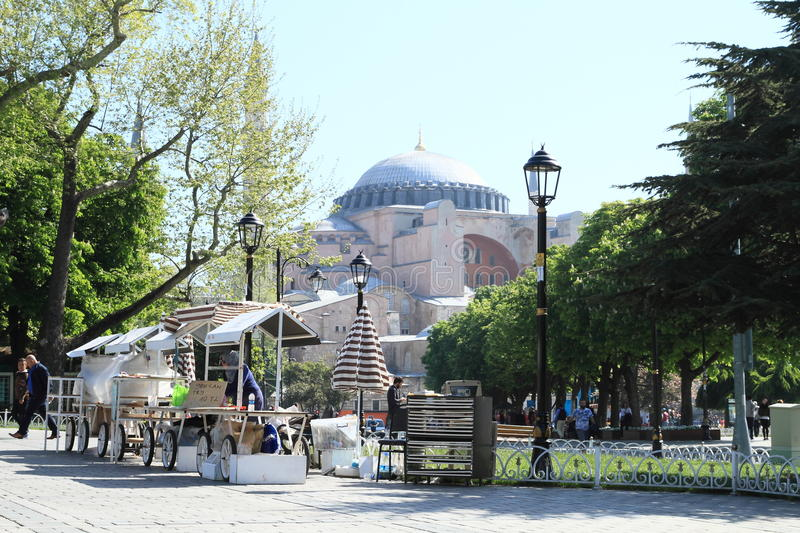 Stalls in front of Hagia Sofia in Istanbul royalty free stock photos