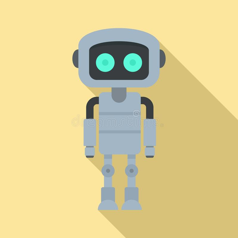 Stalowa robot ikona, mieszkanie styl ilustracja wektor